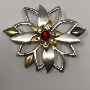 Christmas flower red/white stones silver/gold tone